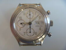 HAMILTON AUTOMATIC CHRONOGRAPH DAY DATE MENS WRISTWATCH STAINLESS STEEL 80's.