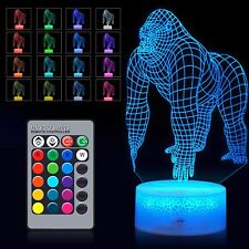 3D Gorilla Night Light Remote Control LED Illusion Table Lamp for Kids Boy GIFT