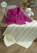 "28 /""Tejer patrón Baby Aran Duffle chaqueta collar//hood /& Sweater 18 Pulgadas"
