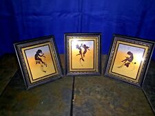 Antique K DIEFENBACH Rainbow Silhouettes FAIRY PIXIE in FLIGHT Art SET of 3 ❤️j8