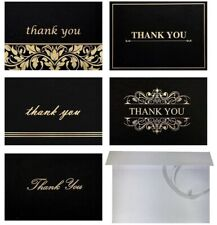 100 Thank You Cards w/ Envelopes, HIGH QUALITY, Black-Gold, 5 Designs 4x6 Folded