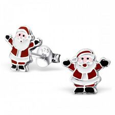 Childrens Girls Sterling Silver Father Christmas Santa Stud Earrings - Boxed