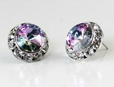 "Light Mystic Rainbow Vitrail Austrian Crystal Silver Rhodium Post Earrings 1/2"""