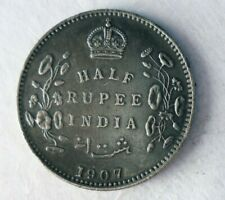 1907 INDIA 1/2 RUPEE - AU - Very Sharp Nicely Toned Silver Coin - LOT #Y30