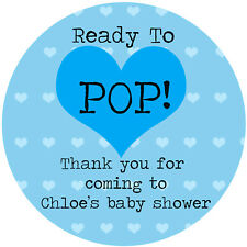 20 x 33mm Blue personalised Baby Shower popcorn bag Stickers Ready to POP!