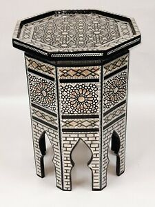 """Egyptian End Table Wood Inlaid Mother of Pearl Height 19"""" X Width 15"""""""