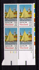 US USA Sc# 2342 MNH FVF PLATE # BLOCK Maryland Sailboat Chruch
