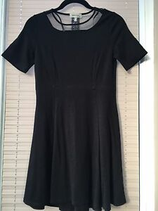 MONTEAU BLACK SKATER DRESS WITH MESH LACE PANEL SIZE SMALL BNWOT