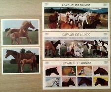 Angola 1997 Horses - complete set MNH - 3 miniature sheets + 2 S/S Sc#992-996
