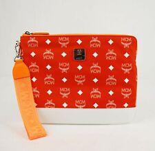 $375 MCM Orange Nylon iPad Case Wristlet Pouch wi/White Leather Trim MZE9SRA12OX