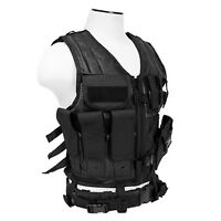 NcSTAR Large Cross Draw Tactical Lightweight Combat Airsoft Hunting Vest Black