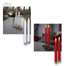 2 LED Stabkerzen GLIM bewegliche Flamme Timer Echtwachs-Mantel flammenlose Kerze