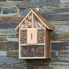 More details for large wooden insect bee house natural wood bug hotel shelter garden nest box