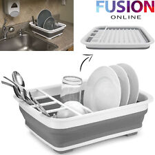 Dish Drainer Rack Collapsible Cutlery Holder Modern Folding Plastic Kitchen