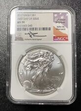 2017 US $1 (.999) Fine Silver Eagle Coin NGC MS70 Signed John M. Mercanti