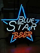 "New Blue Star Beer Bar Neon Light Sign 17""x14"""
