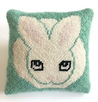 Vintage White Bunny Rabbit Finished Needlepoint Small Throw Pillow with Tail