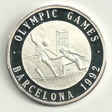 Medaille Olympische Spiele 1992 999er Silber Degenfechter Zertifikat PP
