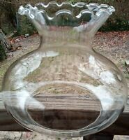 Vintage Clear Seamless Glass Shade Oil Electric Lamp Ruffle Crimped Top Rim