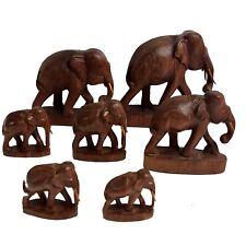 Vintage Set of 7 Hand Carved Wooden Elephants Various Sizes