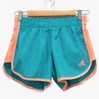 Adidas Climalite Women's Shorts Green Orange Activewear Elastic Waist size UK/XS
