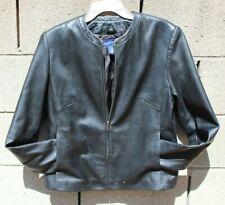 Leather Jacket coat size 9, 10 Small medium Black blue collarless Macy's NEW