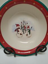 "RED & GREEN RIMMED ROYAL SEASONS STONEWARE SNOWMAN 10"" Vegetable Serving Bowl"