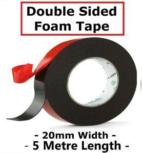 FOAM TAPE Double Sided PE Foam Tape 5m Length 20mm Wide Roll Self Adhesive