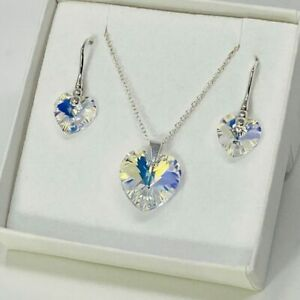 925 Silver AB Heart Pendant Necklace Earring Set Made With Swarovski® Crystal
