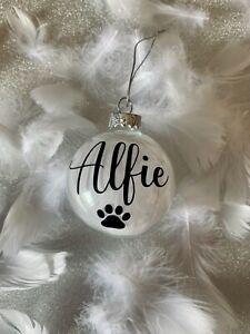 Personalised GLASS Pet Christmas Decor Bauble Cat Dog Memorial Feather Keepsake