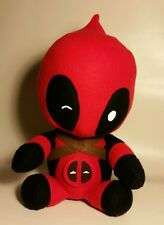 "Handmade plush Deadpool doll with swappable chimichanga and unicorn 16"" tall"