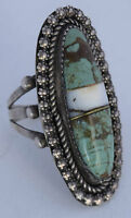 Vintage ornate Navajo Shell, Turquoise inlay large Sterling silver ring signed