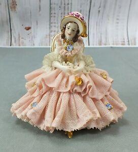 Antique FURSTENBERG DRESDEN Porcelain LADY IN CHAIR Figurine GERMANY Pink Dress