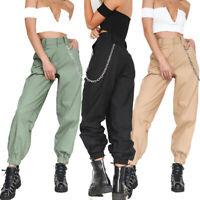 Women Casual High Waist Chain Hip-Pop Combat Cargo Harem Pants Leggings Trousers