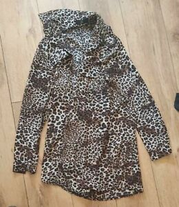 Ladies 'MISSGUIDED' Leopard print long sleeve collared Blouse. Size 12. vgc.