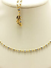 18k Solid Two Tone Sparkle Mooncut Beaded Necklace/ Chain 5.25 Grams