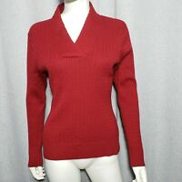 Jeanne Pierre Women Size Large Long Sleeve VNeck Burgundy Red Cable Knit Sweater