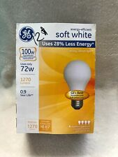 GE energy -efficient Soft White 100W uses only 72W  4 PACK A19 Halogen Bulbs