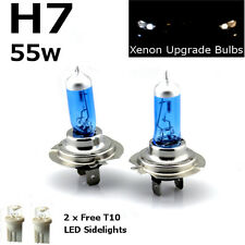 H7 55w SUPER WHITE XENON (499) HID Head Light Bulbs 12v + W5W 501 LED Sidelights