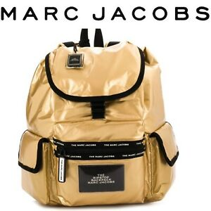 MARC JACOBS THE RIPSTOP BACKPACK METALLIC GOLD NYLON NEW