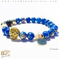 Blue Jasper Bead Bracelet, Gold Lion Head Bracelet, Blue Sediment Bead Bracelet