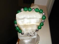 "Green Jade Stainless Steel Beaded Bracelet Men's Handmade 8 3/4"" 10 Mm"