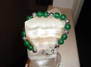 "Men's Handmade 8 3/4"" 10 MM Green Jade Tibetan silver Beaded Bracelet"