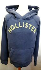 HOLLISTER Mens Hoodie Jumper S Small Blue Cotton Distressed Oversize