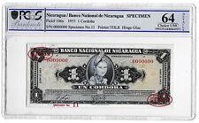 1953 Nicaragua 1 Cordoba Banknote Specimen TDLR 106s Choice Unc 64