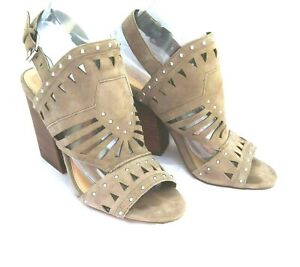 Vince Camuto Women's 8 Block Stacked Heel Open toe Shoes Sandals cutouts studs