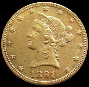 1891 CC CARSON CITY USA GOLD $10 LIBERTY HEAD EAGLE COIN CHOICE AU