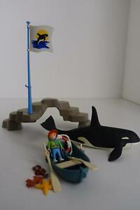 "Playmobil 3865 ""Orka, Boot und Fels"" Schwertwal, Wal -selten-"