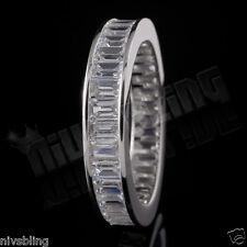 18K White Gold Baguette Cut CZ Womens Eternity Wedding Unisex Band Promise Ring