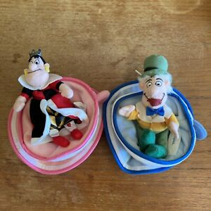 Alice in Wonderland Disneyland Disney Parks Plush Bean Bag Set Tea Cup Queen